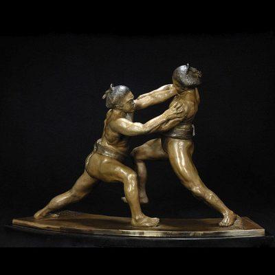 Sumo Wrestling Sculpture - Oshidashi