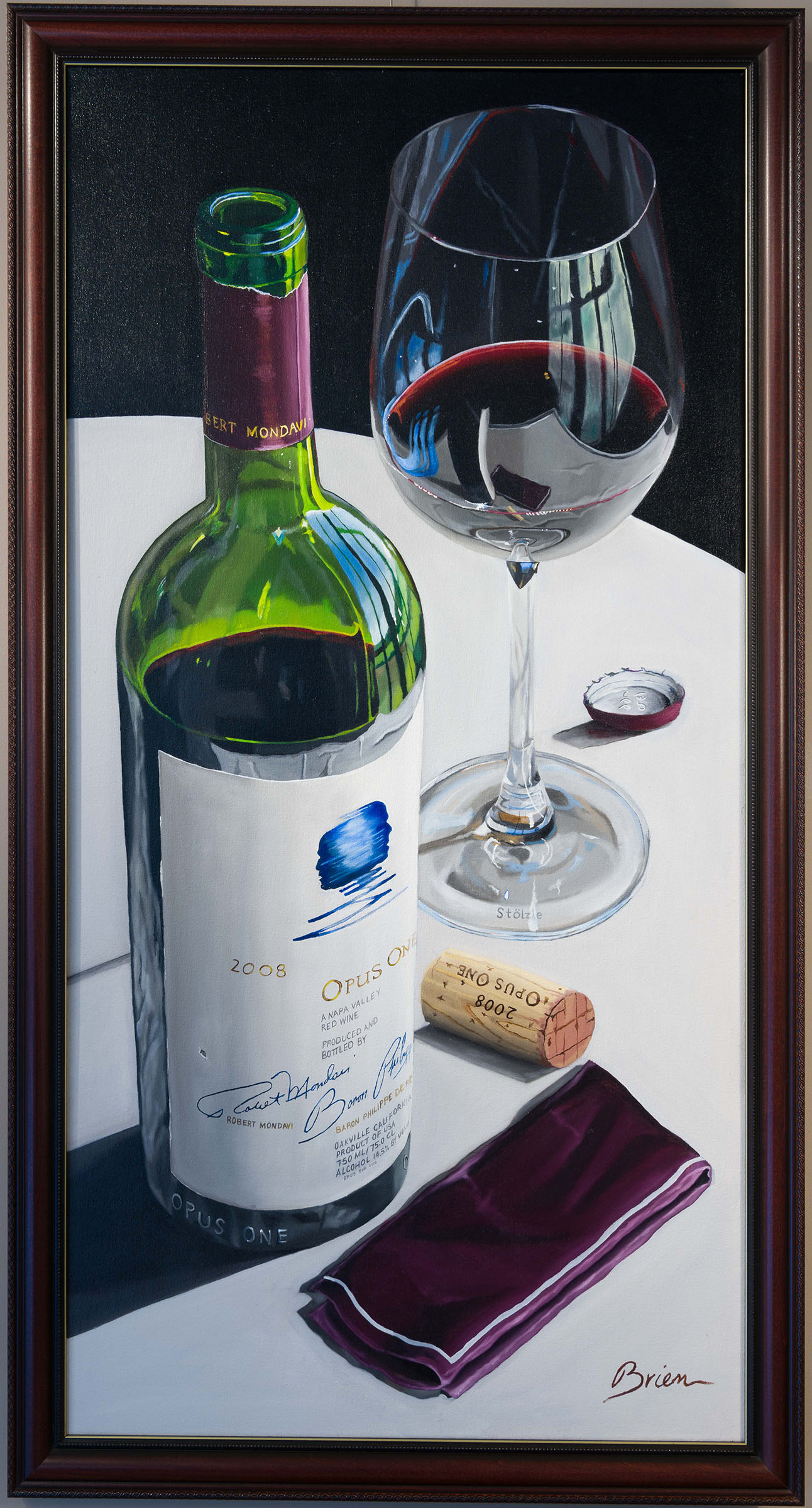 Still life oil painting of opus one wine on table with full glass.