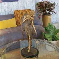bronze sculpture table centerpiece in home