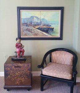 bronze sculpture table centerpiece in home