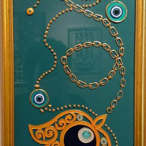 Mixed media wall art teal and gold