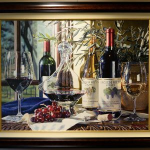 Watercolor Giclee of Three Wine Bottles on a table with two glasses of wine and grapes.