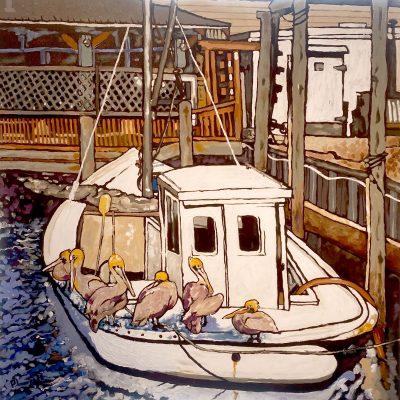 Scoop of Pelicans on Workboat III